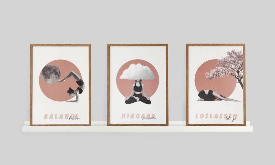 Yoga Poster Inspiration 3er Set